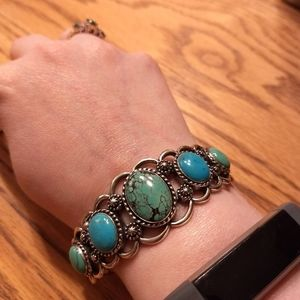Carolyn Pollack Sterling Cuff Shades of Turquoise